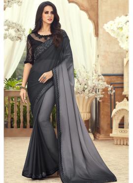 Pure Chiffon Embroidered Saree in Black
