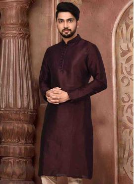 Purple Art Dupion Silk Mehndi Nehru Jackets