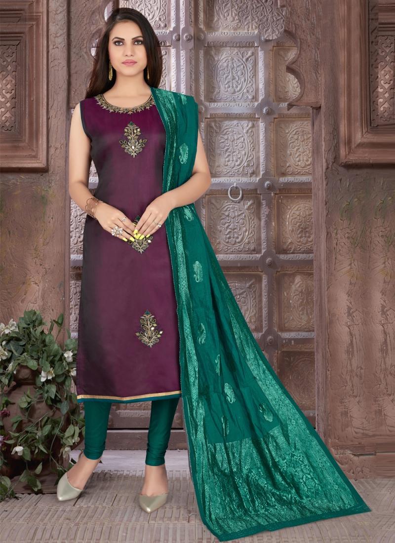 Purple Art Silk Readymade Suit
