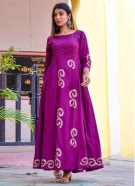 Purple Block Print Readymade Gown