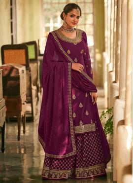 Purple Ceremonial Faux Georgette Designer Pakistani Salwar Suit
