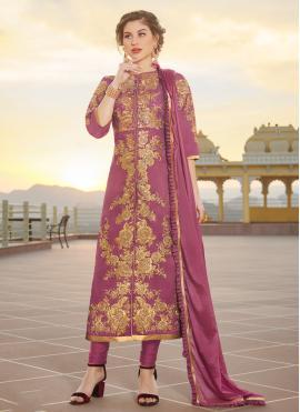 Purple Chanderi Designer Straight Suit