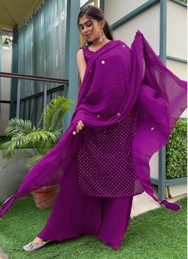 Purple Color Designer Palazzo Salwar Kameez