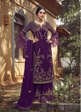 Purple Color Designer Palazzo Salwar Suit