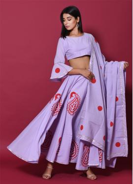 Purple Cotton Block Print Lehenga Choli