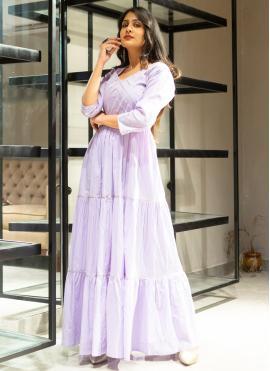 Purple Cotton Lace Designer Gown