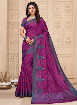 Purple Embroidered Classic Saree