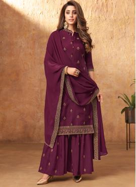 Purple Embroidered Designer Pakistani Suit