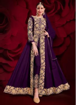 Purple Embroidered Faux Georgette Anarkali Suit