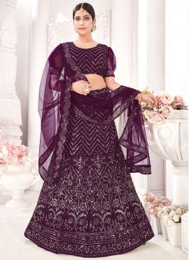 Purple Embroidered Net A Line Lehenga Choli