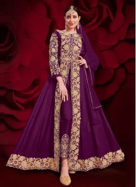 Purple Faux Georgette Anarkali Suit