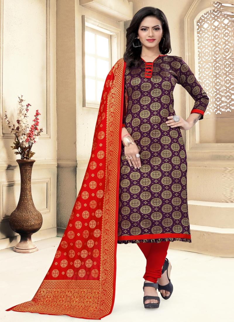 Purple Festival Banarasi Silk Churidar Suit