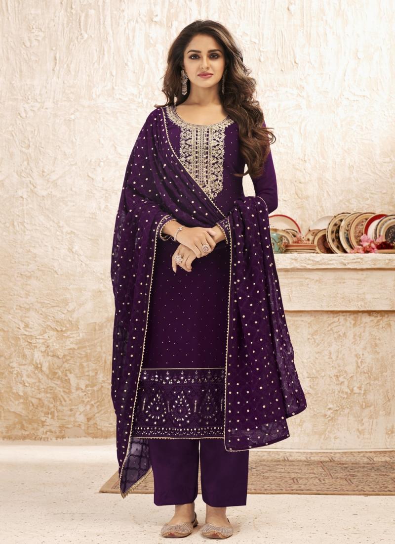 Purple Festival Designer Straight Suit