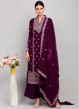 Purple Georgette Thread Work Designer Palazzo Salwar Kameez