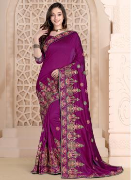 Purple Silk Party Bollywood Saree