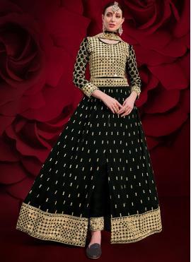 Radiant Embroidered Black Floor Length Anarkali Suit