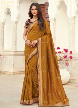 Radiant Mustard Silk Designer Saree