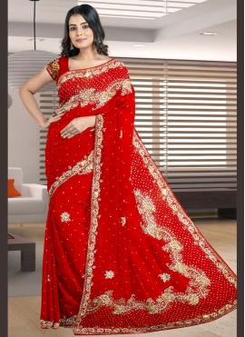 Radiant Red Embroidered Designer Traditional Saree