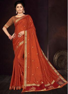Radiant Vichitra Silk Orange Embroidered Traditional Saree