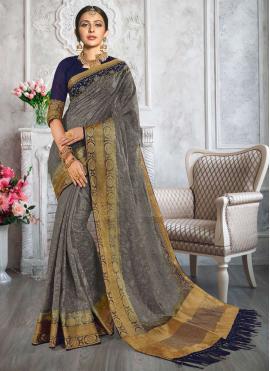 Rakul Preet Singh Cotton Fancy Grey Classic Designer Saree
