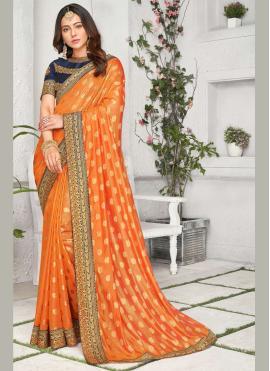 Rakul Preet Singh Embroidered Orange Traditional Saree