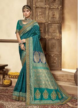 Rama Banarasi Silk Patch Border Traditional Designer Saree