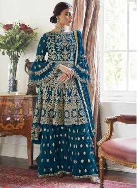 Rama Embroidered Net Designer Palazzo Salwar Suit