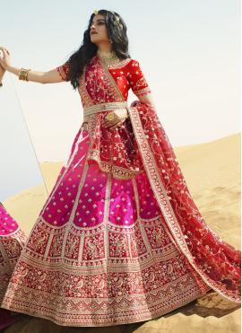 Rani and Red Engagement Art Silk A Line Lehenga Choli