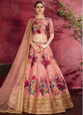 Ravishing Embroidered Peach Banglori Silk Designer Lehenga Choli