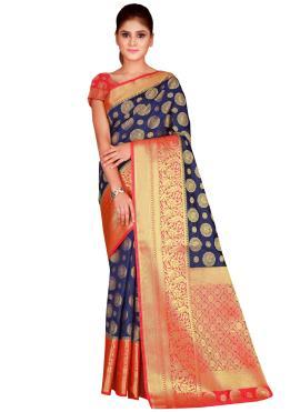 Ravishing Weaving Navy Blue Bollywood Saree