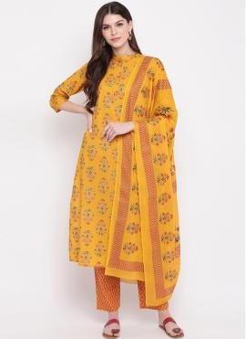 Ravishing Yellow Printed Cotton Salwar Kameez