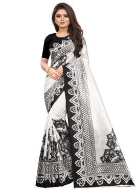 Raw Silk Abstract Print Black and White Printed Saree