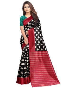 Raw Silk Abstract Print Printed Saree in Multi Colour