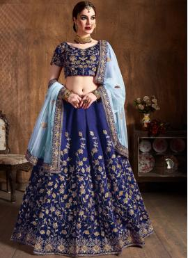 Raw Silk Blue Embroidered Lehenga Choli