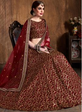 Raw Silk Embroidered Lehenga Choli in Maroon