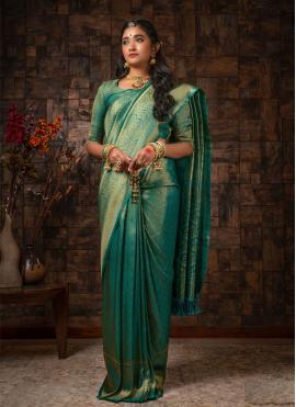 Raw Silk Fancy Teal Traditional Designer Saree