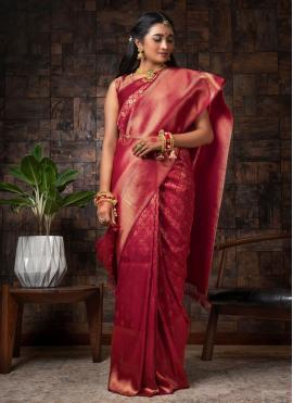 Raw Silk Maroon Fancy Designer Traditional Saree