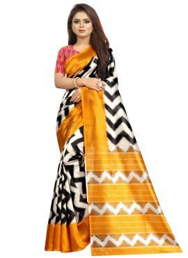 Raw Silk Printed Saree in Multi Colour