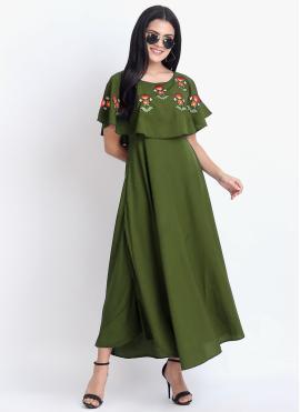Rayon Designer Kurti in Green