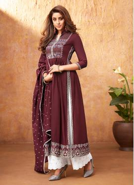 Rayon Handwork Readymade Suit in Maroon