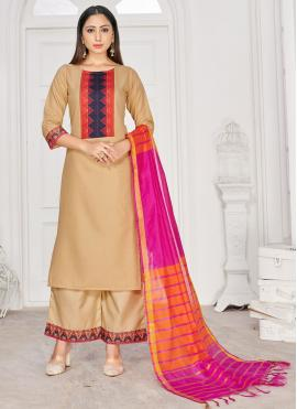 Rayon Print Beige Readymade Suit