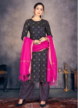 Rayon Print Readymade Suit in Navy Blue