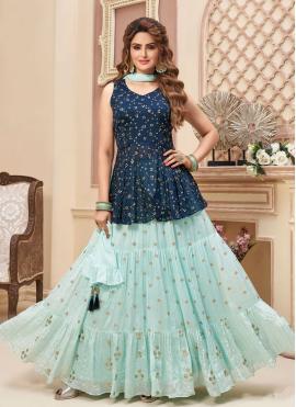 Readymade Lehenga Choli Fancy Faux Chiffon in Blue