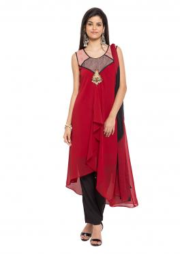 Readymade Salwar Kameez Patchwork Faux Georgette in Maroon