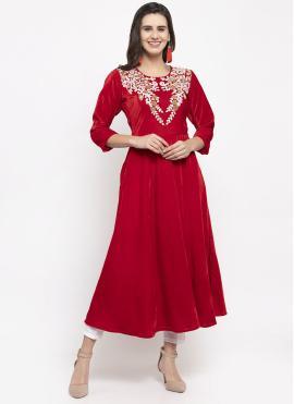 Readymade Salwar Kameez Plain Velvet in Red