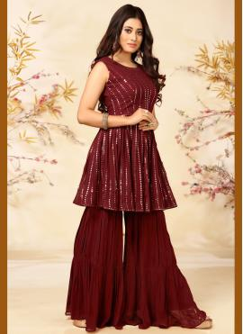 Readymade Suit Embroidered Faux Georgette in Maroon