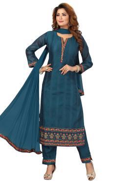 Readymade Suit Fancy Chanderi in Blue