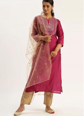 Readymade Suit Fancy Silk in Pink
