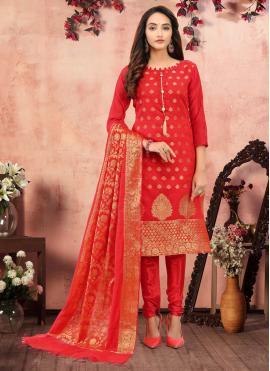 Red Banarasi Silk Festival Churidar Salwar Kameez