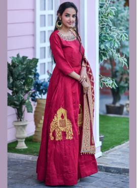 Red Ceremonial Designer Floor Length Salwar Suit